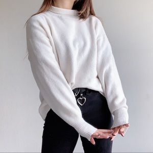 White knit turtleneck sweater
